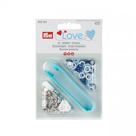 Snap Fasteners Jersey, Prym Love, 8mm, Blue Light Blue White (390702)