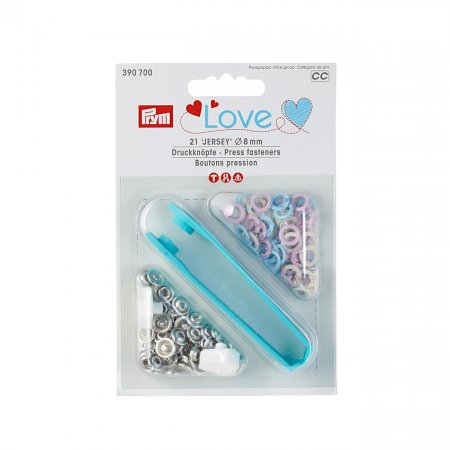 Snap Fasteners Jersey, Prym Love, 8mm, Pink Light Blue Pearl (390700)