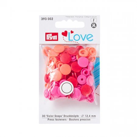 Color Snaps Snap Fasteners Red, Prym Love, Plastic 12,4mm, Pack of 30 (393002)