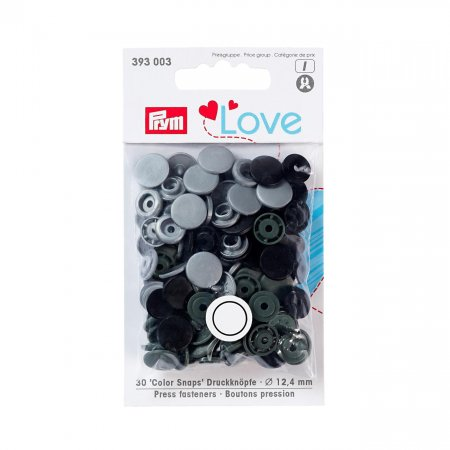 Snap Fastener Colour, Prym Love, 12,4mm, Grey, Pack of 30 (393003)