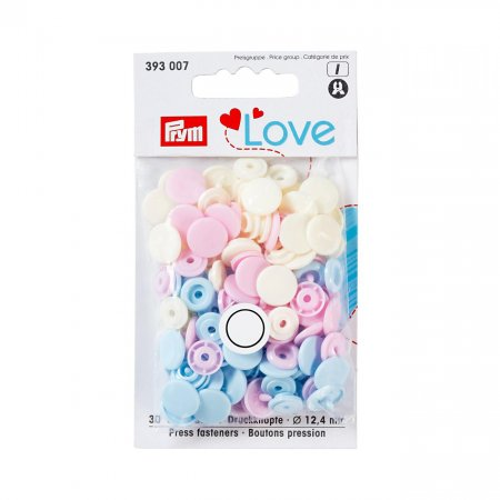 Color Snaps Snap Fasteners Light Pink/Light Blue/viale, Prym Love, Plastic 12,4mm, 30 Pieces (393007)