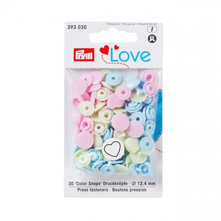 Snap Fastener Colour, Prym Love, Heart, 12,4mm, Pink Green Light Blue, Pack of 30 (393030)