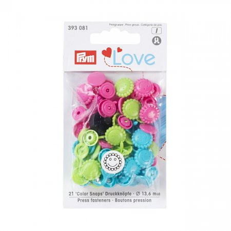 Snap Fastener Colour, Prym Love, Flower, 13,6mm, Turquoise Green Pink, Pack of 21 (393081)