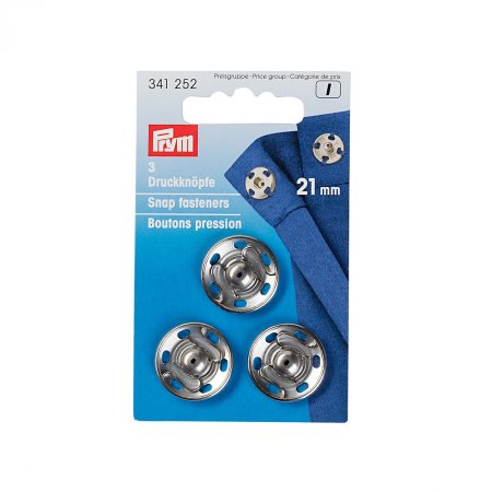 Sew On Snap Fasteners, 21mm, Silver Colour, Pack of 3 (341271)