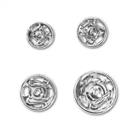Sew On Snap Fasteners, 6-11mm, Silver Colour, Pack of 20 (341270)