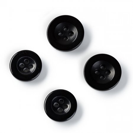Trouser Buttons, 15mm and 17mm, Black, Pack of 10 (311315)