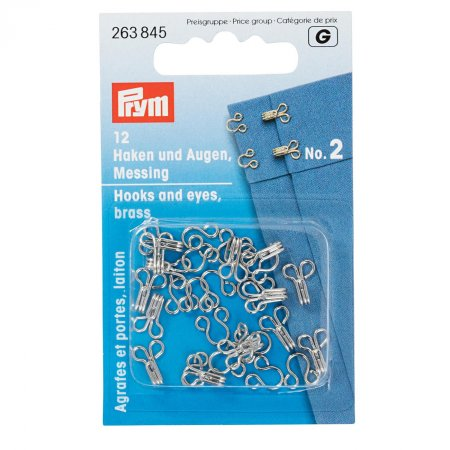 Hooks and Eyes, Size 2, Silver Colour, Pack of 12 (263845)