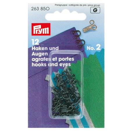 Hooks and Eyes, Size 2, Black, Pack of 12 (263850)