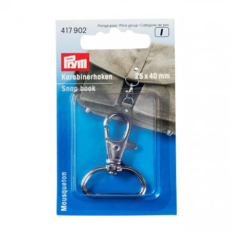 Carabiner Hook 25 x 40mm, Silver Colour (417902)