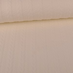 Knit Jaquard knitted fabric with Braid Pattern Cream