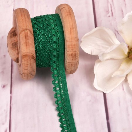 Elastic Lace Curved Edge Dark Green 20mm