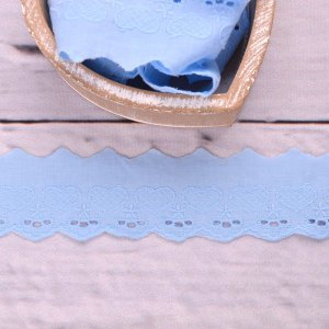 Lace Hearts Light Blue 50mm