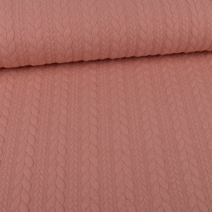 Knit Jaquard knitted Fabric with Braid Pattern Light Pink