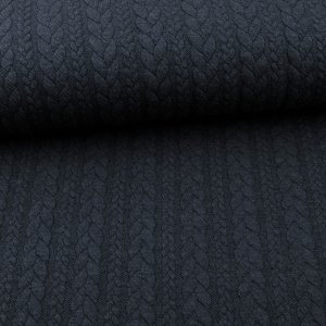 Knit Jaquard Knitted Fabric with Braid Pattern Dark Blue...