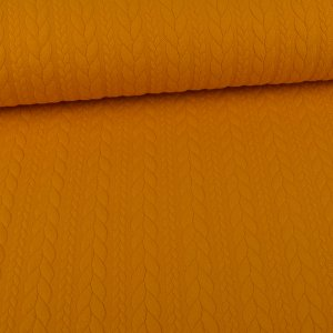 Knit Jaquard Knitted Fabric with Braid Pattern Ochre