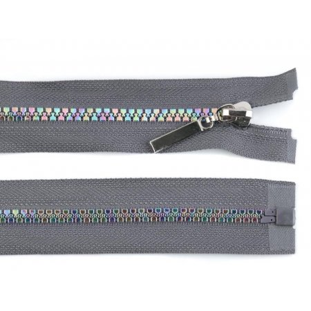 Rainbow Zipper Grey 80 cm length
