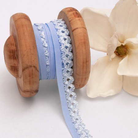 Elastic Lace Curved Edge Light Blue 20mm