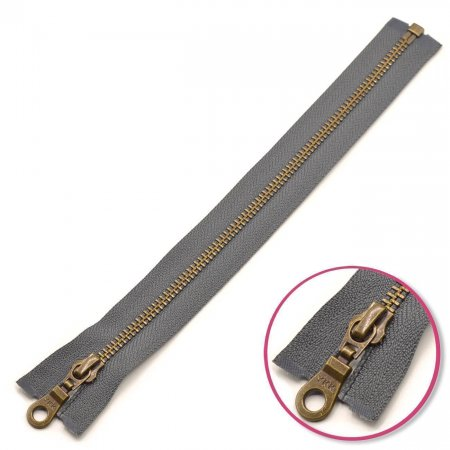 Zipper Slate-Grey 75cm Seperable Antique-Gold YKK (0503311-182)