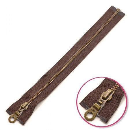 Zipper Dark Brown 30cm Seperable Antique-Gold YKK (0503311-570)