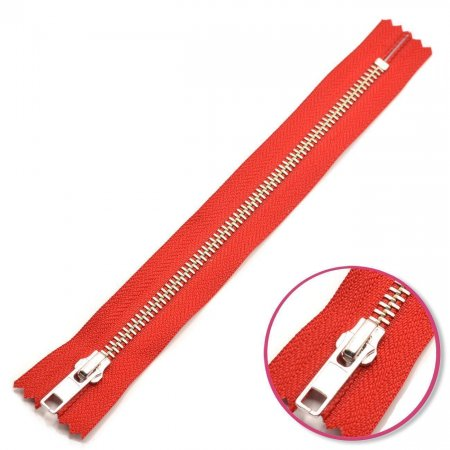 Zipper Red 22cm Non Seperable Silver YKK (0573986-519)