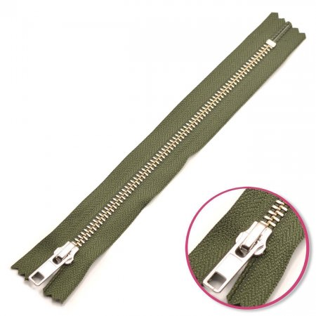 Zipper Olive Green 12cm Non Seperable Silver YKK (0573986-567)