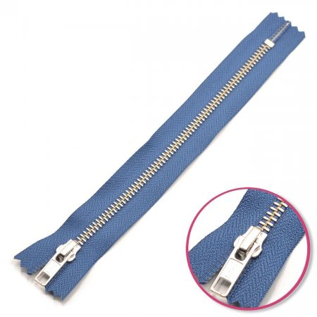 Zipper Denim-Blue 20cm Non Seperable Silver YKK (0573986-839)