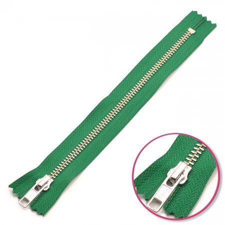 Zipper Green 14cm Non Seperable Silver YKK (0573986-878)