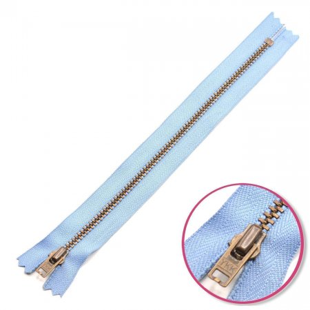 Zipper Pastel-Blue 12cm Non Seperable with Teeth Metalic Antique YKK (0643475-546)