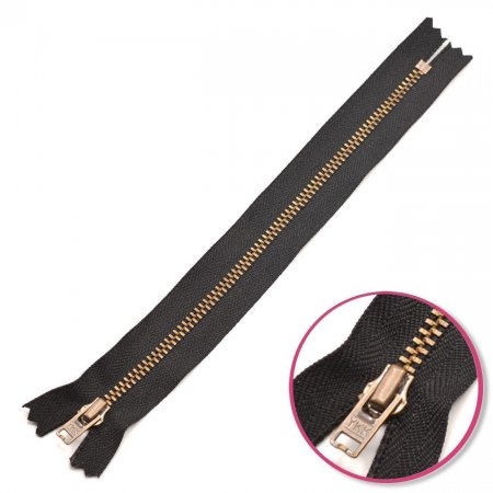 Zipper Black 8cm Non Seperable with Teeth Metalic Antique YKK (0643475-580)
