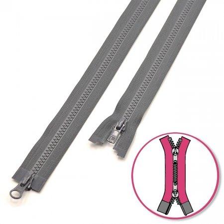 Zipper Slate-Grey 75cm two-ways Seperable with Teeth Plastic YKK (4335819-182)