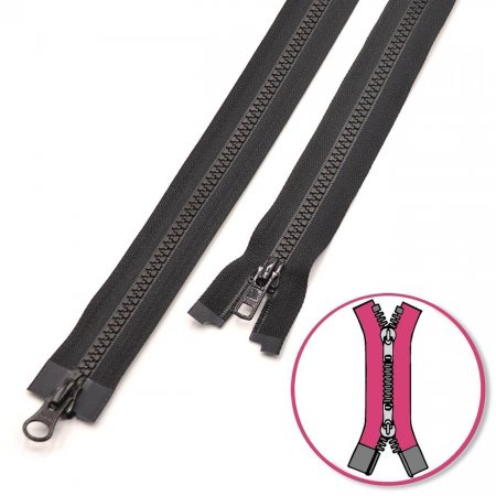 Zipper Black 65cm two-ways Seperable with Teeth Plastic YKK (4335819-580)
