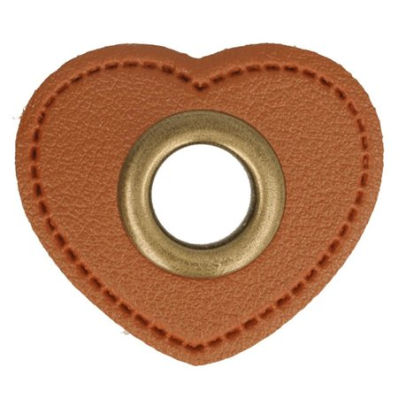 Leatherette Eyelette Patch Heart Brown 11mm - Bronze