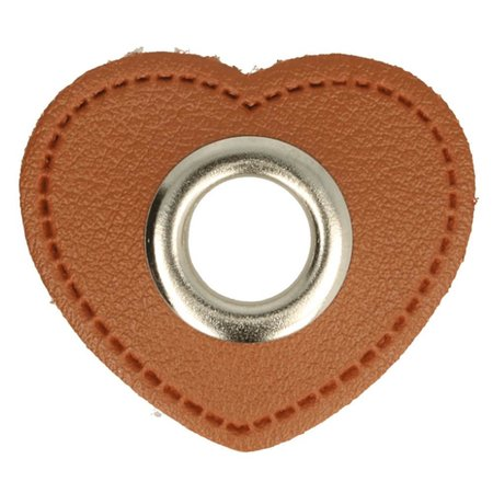 Leatherette Eyelette Patch Heart Brown 11mm - Nickel