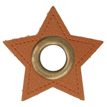 Leatherette Eyelette Patch Star Brown 8mm - Bronze