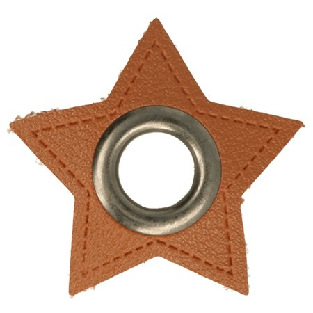 Leatherette Eyelette Patch Star Brown 8mm - old-Silver