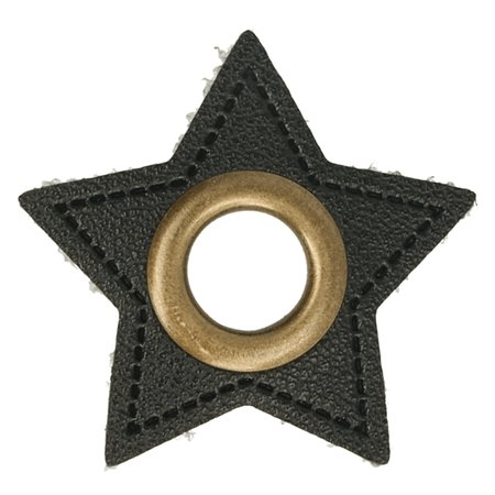 Leatherette Eyelette Patch Star Black 8mm - Bronze