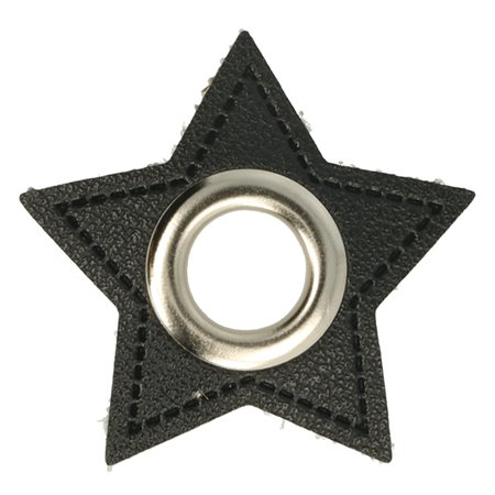 Leatherette Eyelette Patch Star Black 11mm - Nickel