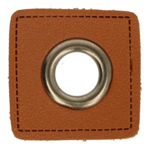 Leatherette Eyelette Patch Brown 8mm - old-Nickel