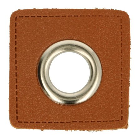 Leatherette Eyelette Patch Brown 14mm - Nickel