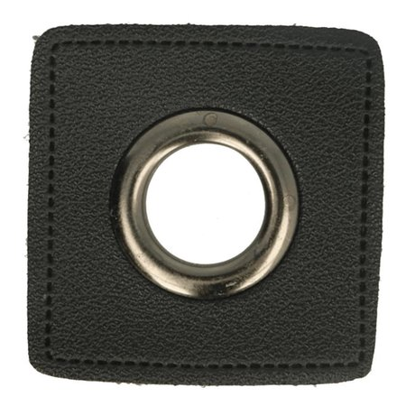 Leatherette Eyelette Patch Black 8mm - old-Nickel