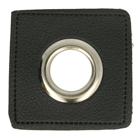 Leatherette Eyelette Patch Black 8mm - Nickel