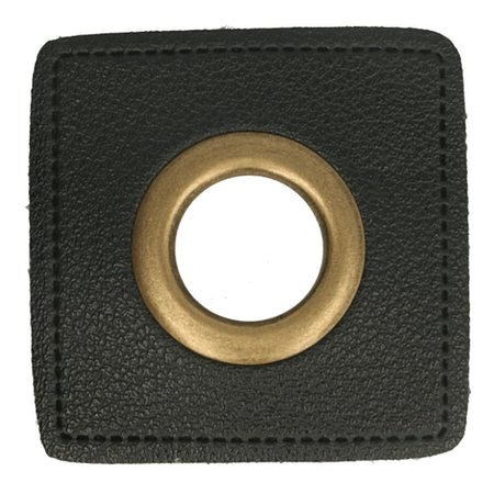 Leatherette Eyelette Patch Black 14mm - Bronze