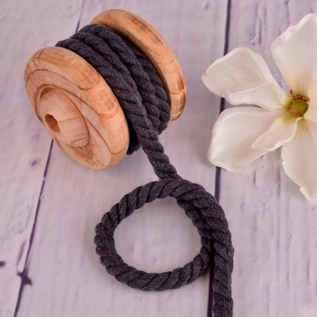 Twisted Cotton Cord XXL Uni Anthracite 12 mm