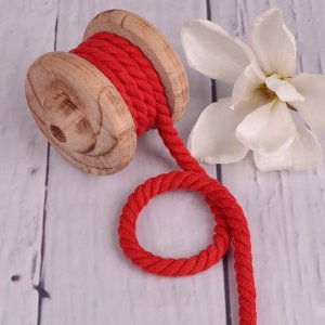 Twisted Cotton Cord XXL Uni Red 12 mm