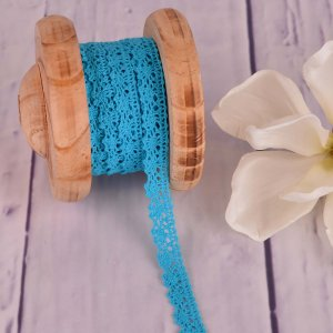 Knitted Trim Lace Trim Aqua 15 mm