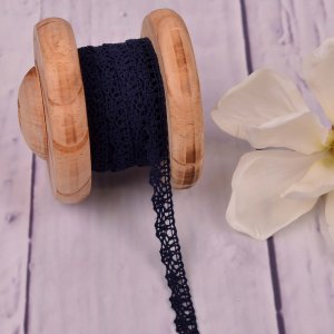 Knitted Trim Lace Trim Navy 15 mm
