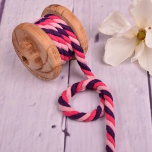 Cotton Cord XXL Multicolour Light Pink Pink Purple 12 mm