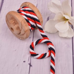 Twisted Cotton Cord XXL Multicolour White Red Navy 12 mm