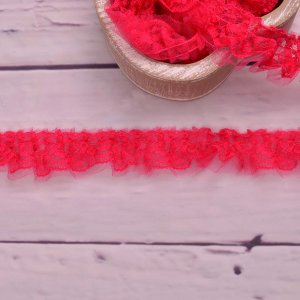 Ruffle Lace Ribbon Pink 45mm
