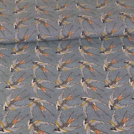 Cotton Coated Swallows on Pattern blue
